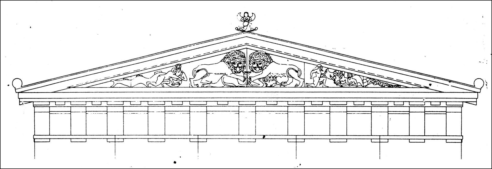 3b. Ubekendt teknisk tegner: Skulpturel udsmykning af vestgavlen på det første Athenetempel på Akropolis, ca. 570 f.Kr.