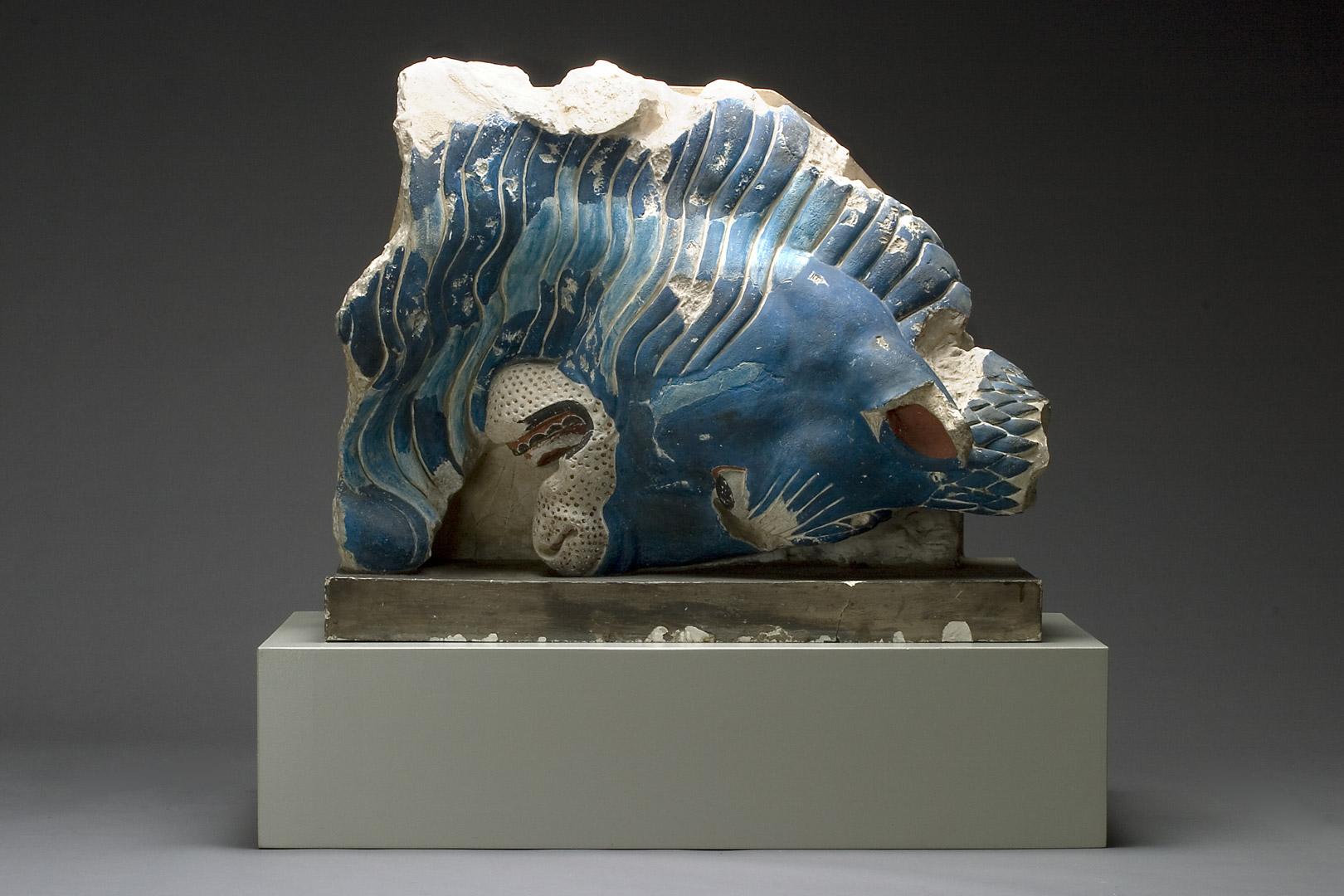 7. Anne Marie Carl-Nielsen (1863-1945): Tyrehoved. (Kopi, med farverekonstruktion, af et fragment fra Athenetemplets gavludsmykning.) (1904-05). Gips, bemalet.
